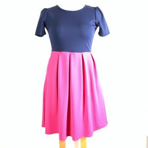 Lularoe Amelia Large Pink Navy Blue Dress Pockets